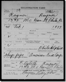 1918 Rayner Raynor US WWI Draft Registration Card